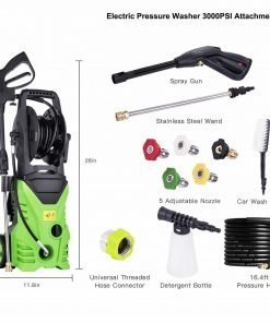 Elomes Pressure Washer Cleaner Electric 3000 PSI Surface Clear Cleaner Hose Reel 16.4ft/Nozzle Tips/Bottle/Brush/Spray Gun/Wheels Cleaning Solution Kit Attachment for Car/Floor/Gutter