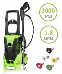 Luckdeal Electric Pressure Washer 3000 PSI Power Washer 1800W, Rolling Wheels Surpport, Professional Washing Cleaner Machine 1.8GPM + Power Hose Nozzle Gun+ 5 Nozzle Adapters (Green)