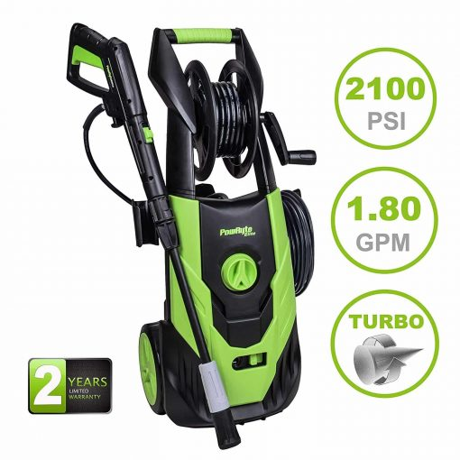 PowRyte Elite 2100 PSI 1.8 GPM Electric Pressure Washer, Power Washer with Adjustable Spray Nozzle, Extra Turbo Nozzle, Onboard Detergent Tank and Hose Reel