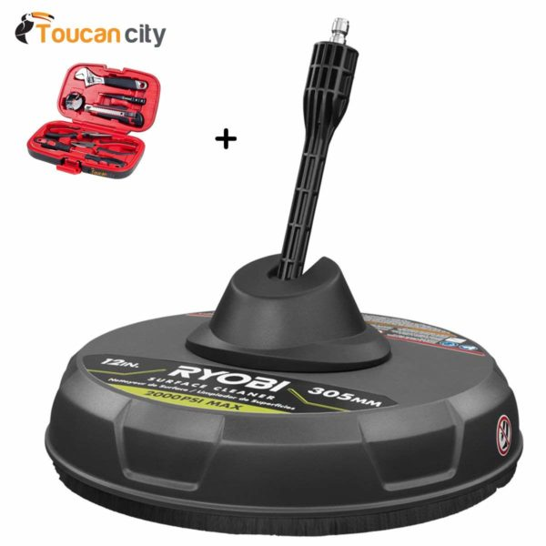 """Toucan City Tool Kit (9-Piece) and Ryobi 12"""" 2000 PSI 1.4 GPM Quick Connect Surface Cleaner for Electric Pressure Washers RY31094"""