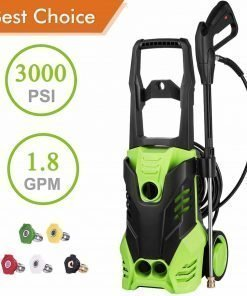 PaPafix 3000 PSI Electric Pressure Washer, 1.80 GPM 1800W Power Washer, Professional Washer Cleaner Machine with 5 Quick-Connect Spray Nozzles and 2 Rolling Wheels, Green