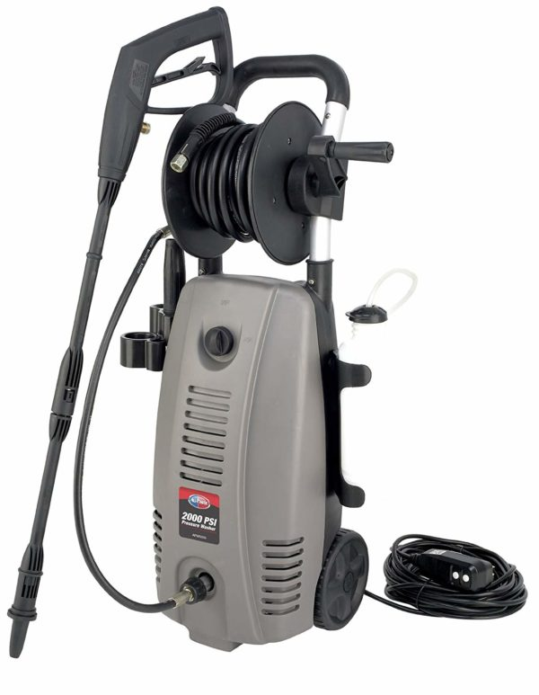 All Power America APW5006 2000 PSI 1.6 GPM Electric Pressure Washer With Hose Reel for Buildings, Walkway, Vehicles and Outdoor Cleaning