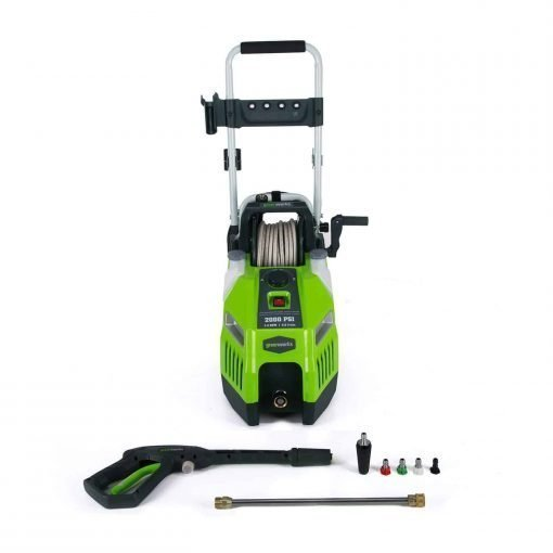GreenWorks 2000 PSI 13 Amp 1.2 GPM Horizontal Electric Pressure Washer with Hose Reel GPW2001