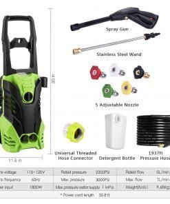 Voluker Electric Power Pressure Washer, 1800W Rolling Wheels High Pressure Power Washer, Professional Cleaner Machine with Power Hose Gun + (5) Interchangeable Nozzles, ONE Year WARRENTY