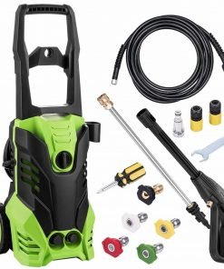 Creine 1800W 2200PSI 1.7GPM Electric High Pressure Washer Cleaner Machine with Rolling Wheels, Power Hose Nozzle Gun & 5 Quick-Connect Spray Tips (US STOCK)