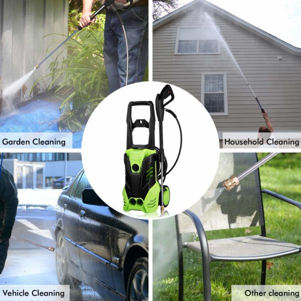 Hurbo Electric Pressure Washer 3000PSI Power Pressure Washer Machine with 5 Interchangeable Nozzles, 1800W Rolling Wheels,1.80 GPM (US Stock)