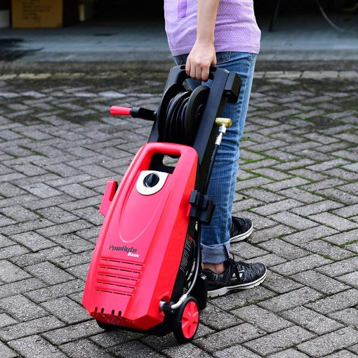 PowRyte 2000PSI 1.8GPM Electric Pressure Washer with Hose Reel, 3 Quick-Connect Spray Tips, Onboard Detergent Tank