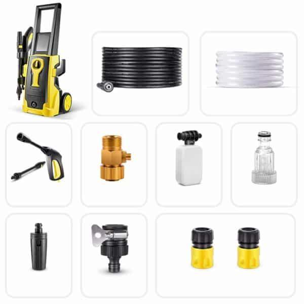 Electric Car Washing Machine High Pressure Car Washing Machine Household 220V Car Wash Pump Portable Water Gun Manual Brush (Yellow) (Color : #1)