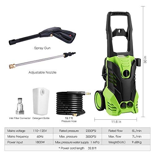 shaofu 3000 PSI Electric Pressure Washer 1800W Rolling Wheels High Pressure Professional Washer Cleaner Machine with Power Hose Nozzle Gun and 5 Quick-Connect Spray Tips (US Stock) (3000 PSI)