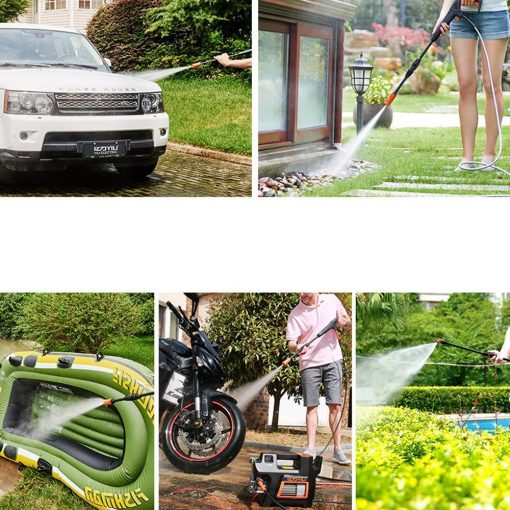Electric Car Washing Machine High Pressure Car Washing Machine Household 220V Car Wash Pump Portable Water Gun Manual Brush Adjustable Nozzle (Color : #1)