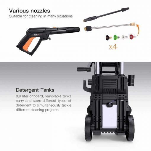 TACKLIFE Pressure Washer, High Efficiency 2300 PSI 1.8 GPM 2000W Electric Power Washer, Pressurized Hose Reel Lever Telescopic Detergent Tank Rotating Nozzle Gun Improved Cleaning Efficiency