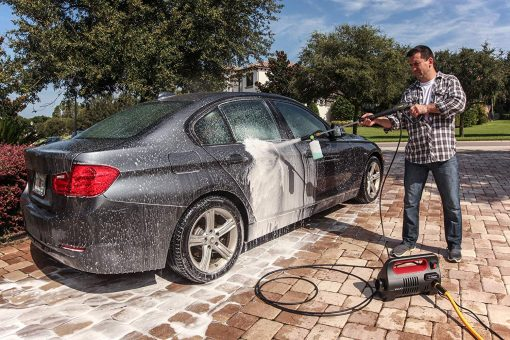 Power Pressure Washer 1500 PSI Electric | BRUSHLESS Technology | The Next Generation of Pressure Washer | 3X More Lifespan | Ultra Low Sound Power Efficient | Super Lightweight (Red)